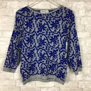 Vintage In Design Blue & Grey Knit Sweater